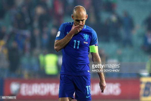 Netherland's forward Arjen Robben reacts after losing the FIFA World Cup 2018 qualification football match between Bulgaria and Netherland in Sofia...