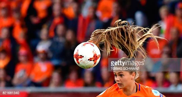 TOPSHOT Netherlands' forward Lieke Martens heads the ball during the UEFA Women's Euro 2017 football match between Belgium and the Netherlands at...
