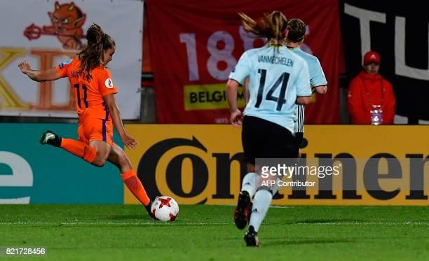 Netherlands' forward Lieke Martens kicks to score during the UEFA Women's Euro 2017 football match between Belgium and the Netherlands at Stadium...