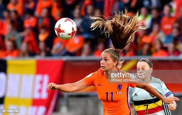 Netherlands' forward Lieke Martens vies with Belgium's forward Elke Van Gorp during the UEFA Women's Euro 2017 football match between Belgium and the...