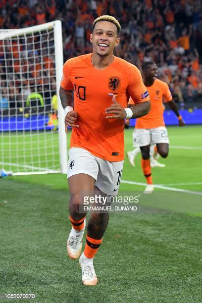 Netherlands' forward Memphis Depay celebrates after scoring a goal during the UEFA Nations League football match between Netherlands and Germany on...