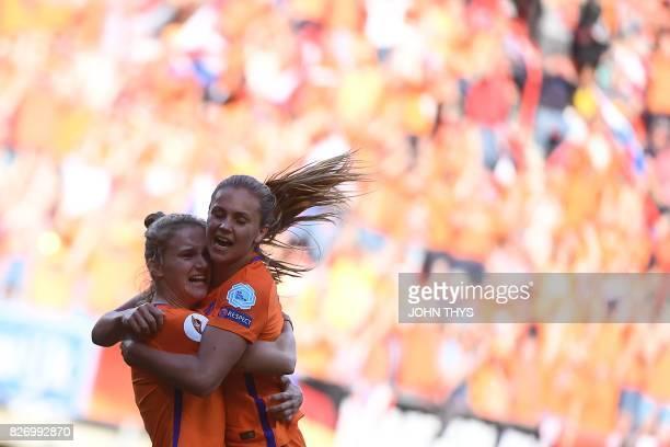 Netherlands' forward Vivianne Miedema celebrates with Netherlands' midfielder Lieke Martens after scoring a goal during the UEFA Womens Euro 2017...