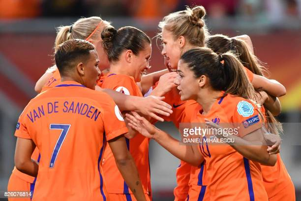 Netherlands' forward Vivianne Miedema celebrates with teammates after scoring a goal during the UEFA Womens Euro 2017 football tournament semi-final...
