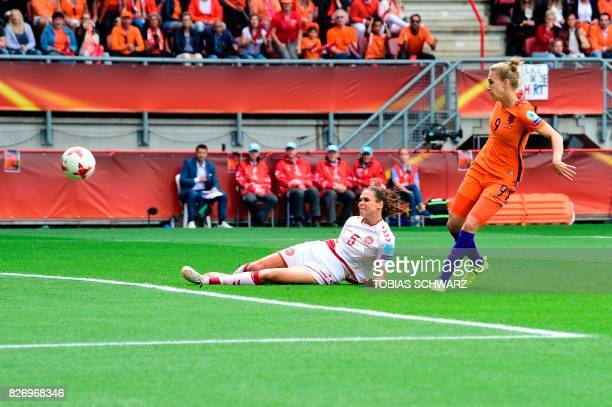 Netherlands' forward Vivianne Miedema scores a goal during the UEFA Womens Euro 2017 football tournament final match between Netherlands and Denmark...
