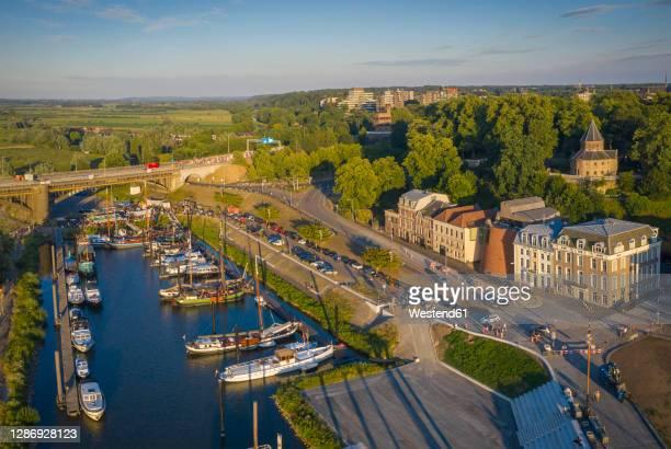 netherlands, gelderland, nijmegen, aerial view of harbor of riverside city - ナイメーヘン ストックフォトと画像