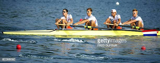 Netherland's Gerard van der Linden, Marshall Godschalk, Ivo Snijders and Paul Drewes compete in the lightweight men's four at the Shunyi Rowing and...