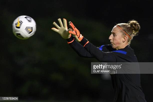 Netherlands' goalkeeper Sari van Veenendaal attends a training session in Zeist on November 23 ahead the women's friendly football match between...