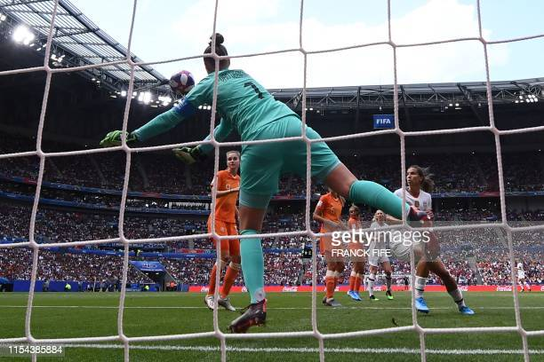 Netherlands' goalkeeper Sari van Veenendaal makes a save during the France 2019 Womens World Cup football final match between USA and the...