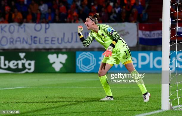 Netherlands' goalkeeper Sari van Veenendaal reacts during the UEFA Women's Euro 2017 football match between Belgium and the Netherlands at Stadium...