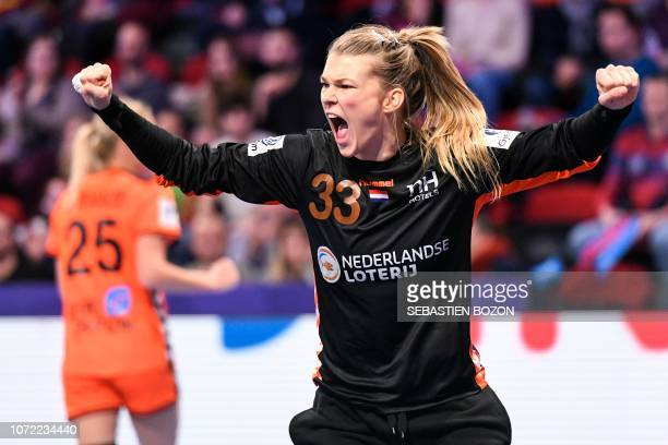 Netherlands' goalkeeper Tess Wester at the end of the 2018 European Women's handball Championships Group 2 main round match between Netherlands and...