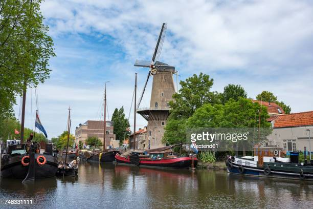 Netherlands, Gouda, harbor with traditional sailing ships and wind mill