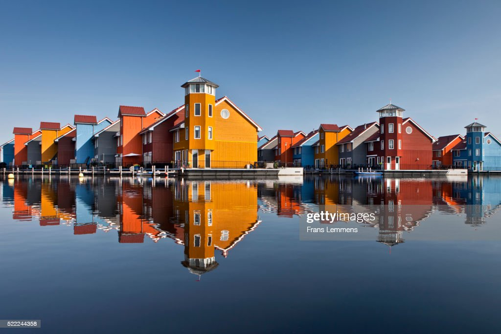 Netherlands, Groningen, Colourful Residential Houses And Marina : Stock Photo