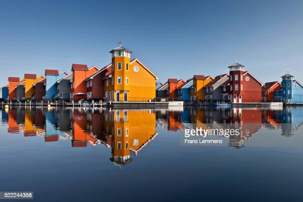 Netherlands, Groningen, Colourful Residential Houses And Marina
