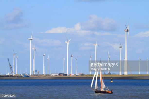 Netherlands, Groningen province, Eemshaven or Ems Harbour is a seaport. Ems estuary.
