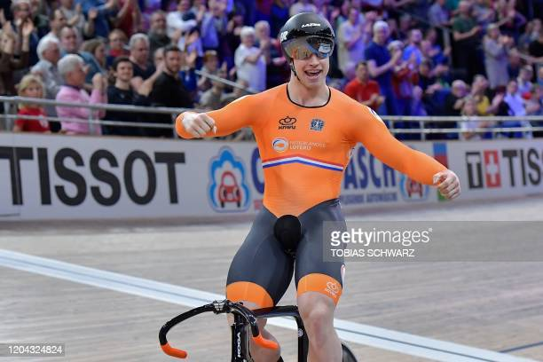 Netherlands' Harrie Lavreysen celebrates after the men's sprint final at the UCI track cycling World Championship at the velodrome in Berlin on March...