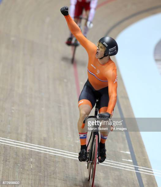 Netherlands Harrie Lavreysen celebrates winning the Men's Sprint final during day two of the TISSOT UCI Track Cycling World Cup at the HSBC UK...