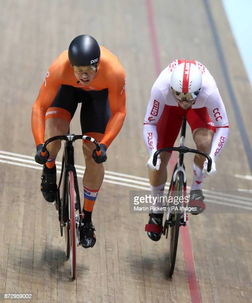 Netherlands Harrie Lavreysen on his way to winning the Men's Sprint final from Mateusz Rudyk during day two of the TISSOT UCI Track Cycling World Cup...