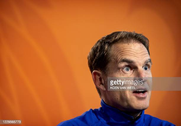 Netherland's head coach Frank de Boer attends a press conference in Zeist, the Netherlands, on November 10 on the eve of their international friendly...
