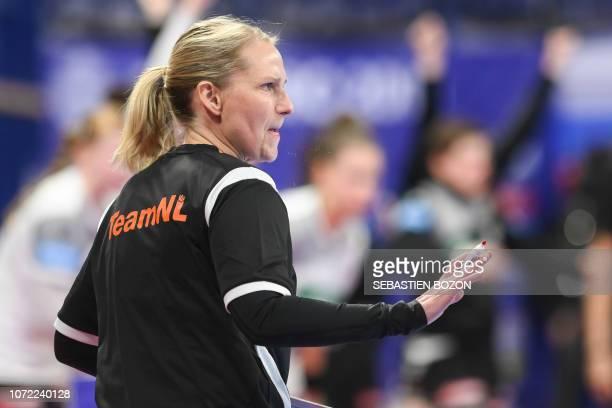 Netherlands' head coach Helle Thomsen gestures during the 2018 European Women's handball Championships Group 2 main round match between Netherlands...