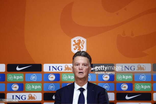 Netherlands' head coach Louis van Gaal holds a press conference after the 2022 FIFA World Cup Qualifiers Group G soccer match between Netherlands and...