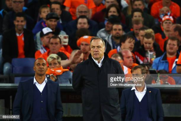 Netherlands Head Coach / Manager Dick Advocaat and his assitant Ruud Gullit watch the team from the bench during the FIFA 2018 World Cup Qualifier...