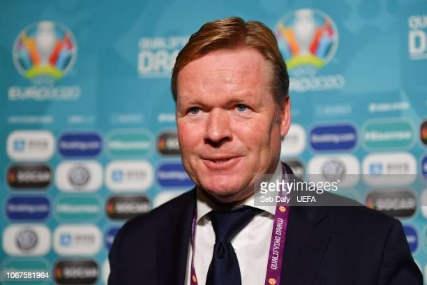 Netherlands head coach Ronald Koeman during post draw flash reactions following the UEFA Euro 2020 Draw on December 2 2018 in Dublin Ireland
