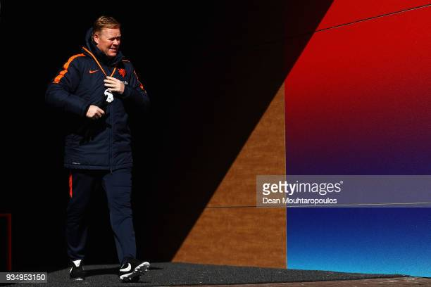 Netherlands Head coach Ronald Koeman walks out for the Netherlands Training session held at KNVB Sportcentrum on March 20 2018 in Zeist Netherlands...