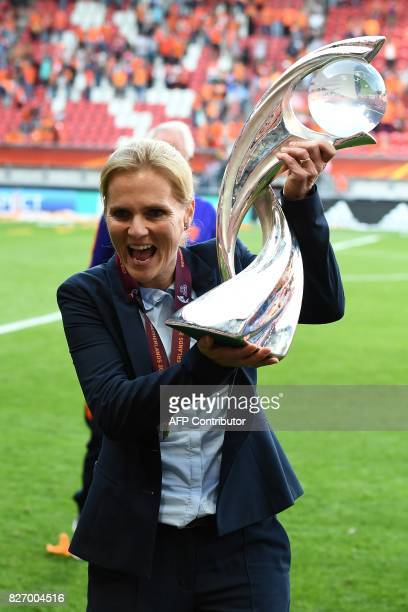 Netherlands' head coach Sarina Wiegman celebrates with the trophy after winning with her team the UEFA Womens Euro 2017 football tournament final...