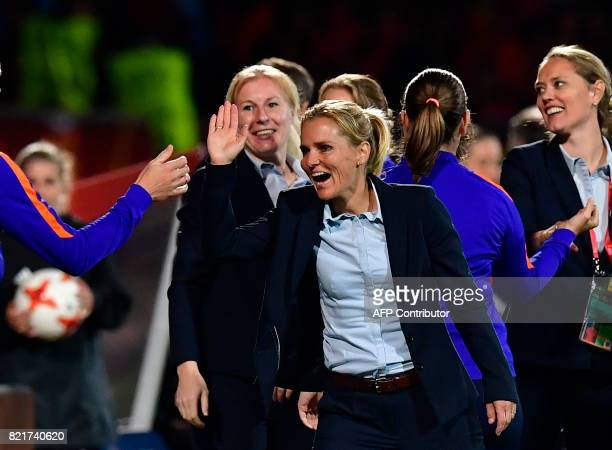Netherlands' head coach Sarina Wiegman reacts after the UEFA Women's Euro 2017 football match between Belgium and the Netherlands at Stadium Koning...
