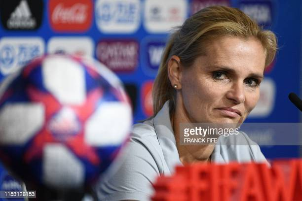 Netherlands' head coach Sarina Wiegman reacts during a press conference at the Groupama stadium in Lyon, on July 1 during the France 2019 football...