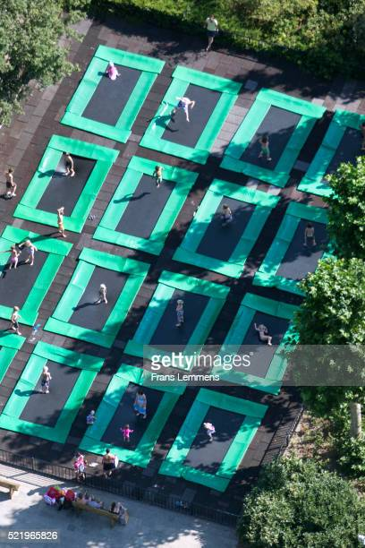Netherlands, Hilvarenbeek, Children On Trampolines