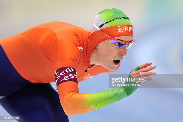 Netherland's Ireen Wuest races to a second place in the women's 1000m competition of the International Speedskating World Single Distances Speed...