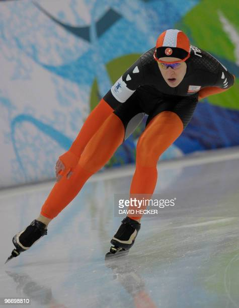Netherlands' Ireen Wust competes during the Ladies' 3000m Speedskating event at the Richmond Oval, in Richmond, on February 14 during the 2010 Winter...