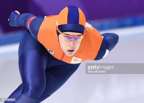 Netherlands' Ireen Wust competes in the women's 1,500m speed skating event during the Pyeongchang 2018 Winter Olympic Games at the Gangneung Oval in...