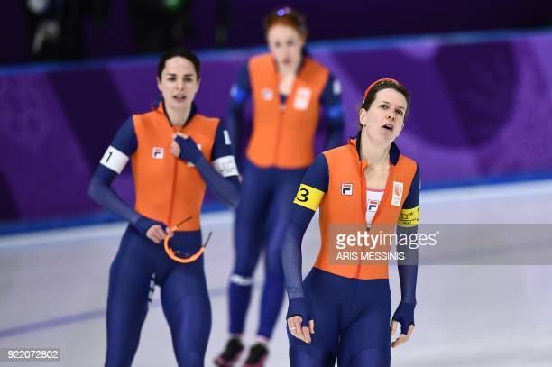 TOPSHOT Netherlands' Ireen Wust reacts after the women's team pursuit final A speed skating event during the Pyeongchang 2018 Winter Olympic Games at...