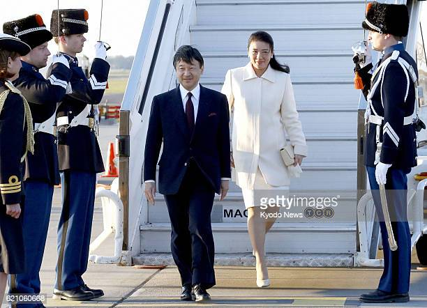 AMSTERDAM Netherlands Japanese Crown Prince Naruhito and Crown Princess Masako arrive in Amsterdam on April 28 to attend the inauguration ceremony of...