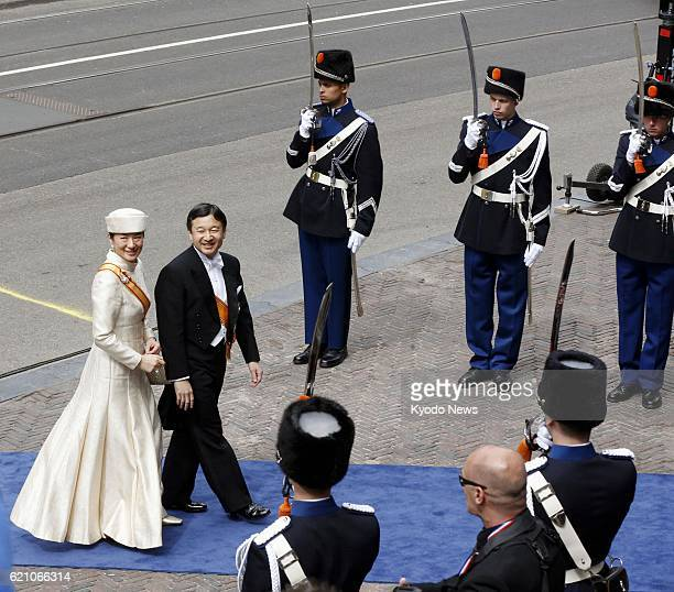 AMSTERDAM Netherlands Japanese Crown Prince Naruhito and Crown Princess Masako enter the Nieuwe Kerk in Amsterdam on April 30 to attend the...