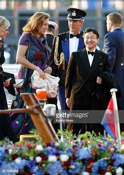 AMSTERDAM Netherlands Japanese Crown Prince Naruhito heads to a music hall after taking part in a celebration parade on the water for the coronation...