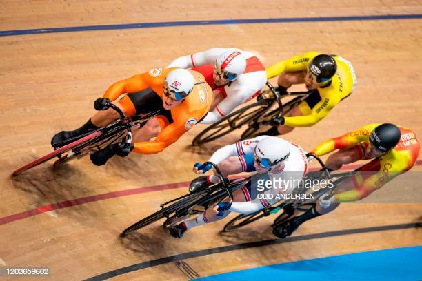 Netherlands' Jeffrey Hoogland and Great Britain's Jason Kenny compete in the Kerin first round during the UCI track cycling World Championship at the...