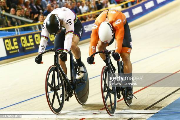 Netherlands' Jeffrey Hoogland competes against his compatriot Harrie Lavreysen in the final sprint of the European Track Cycling Championships in...