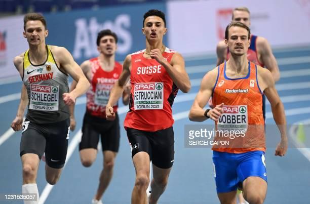 Netherlands' Jochem Dobber wins the Men's 400m semi-final ahead of Switzerland's Ricky Petrucciani and Germany's Marvin Schlegel at the 2021 European...