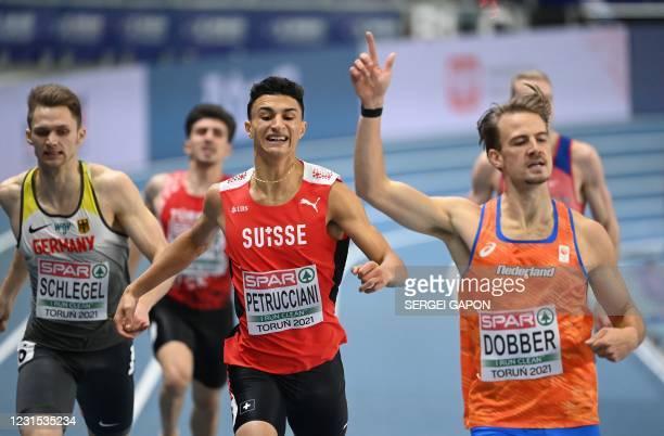 Netherlands' Jochem Dobber wins the Men's 400m semi-final at the 2021 European Athletics Indoor Championships in Torun on March 5, 2021.