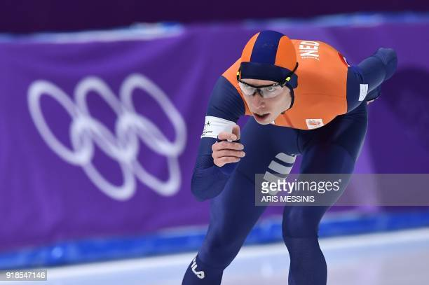 Netherlands' Jorrit Bergsma competes in the men's 10,000m speed skating event during the Pyeongchang 2018 Winter Olympic Games at the Gangneung Oval...