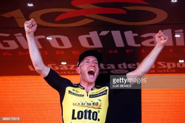 Netherlands' Jos van Emden of team Lotto NLJumbo celebrates on the podium after winning the Individual timetrial between Monza and Milan on the last...