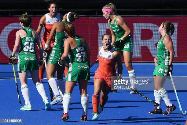 Netherland's Kelly Jonker celebrates after scoring the second goal during the gold medal final field hockey match between the Netherlands and Ireland...