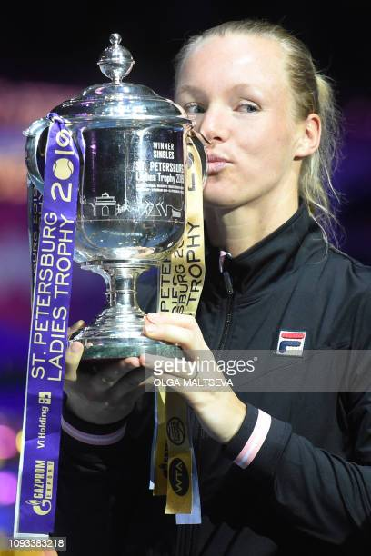 Netherlands' Kiki Bertens poses with the trophy after her victory over Croatia's Donna Vekic in their women's singles final match at the St....