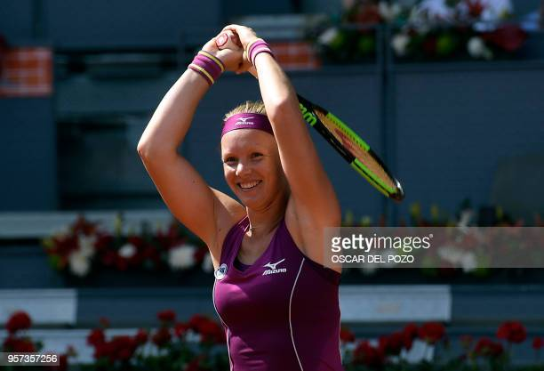 Netherlands' Kiki Bertens reacts after beating France's Caroline Garcia during their WTA Madrid Open semi-final tennis match at the Caja Magica in...