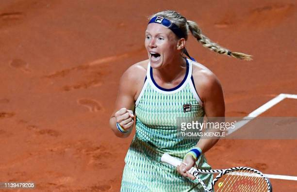 Netherlands' Kiki Bertens reacts after winning against Germany's Angelique Kerber in the quarterfinal match at the WTA Tennis Grand Prix in Stuttgart...