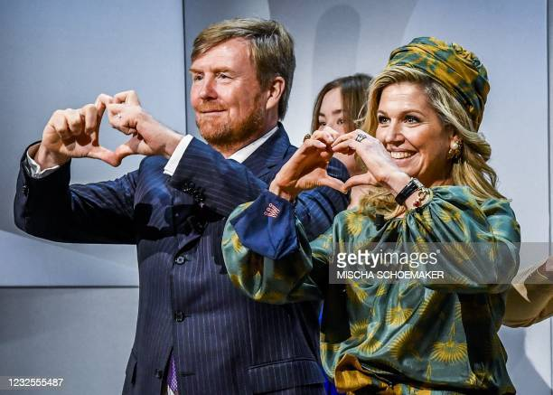 Netherlands' King Willem-Alexander and Queen Maxima take part in festivities as part of King's Day at the High Tech Campus in Eindhoven, on April 27,...