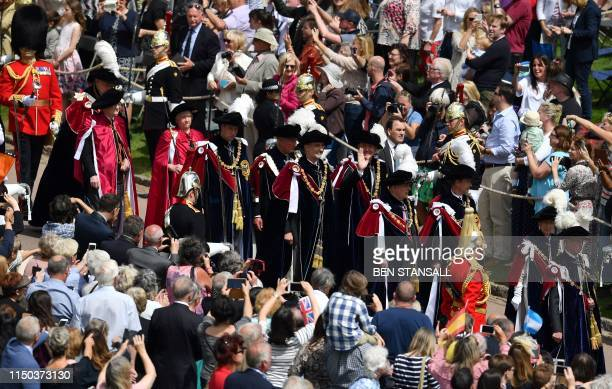 Netherlands' King WillemAlexander and Spain's King Felipe VI walk with Britain's Princess Anne Princess Royal Britain's Prince Edward Earl of Wessex...